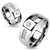 Six Gem Sides with Round Gem Center Stainless Steel Couple Ring