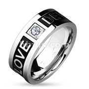 Two Tone Love Devotion Engraved Black IP Stainless Steel Ring