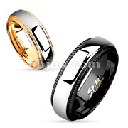 Cutting Edge Iron Plating over Stainless Steel Couple Ring