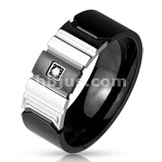 Black CZ Centered IP Black and shiny Steel 2-Tone Stainless Steel Rings