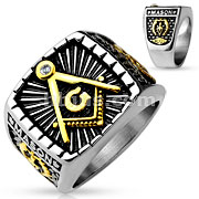 IP Gold And Steel 2-Tone Sqaure Face Masonic Stainless Steel Casting Ring