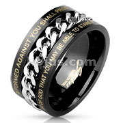 Center Chain with Words Black IP Stainless Steel Ring