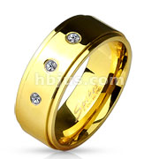 3 CZ Set Stepped Edge Gold IP Stainless Steel Rings