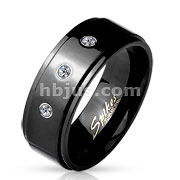 3 CZ Set Stepped Edge Black IP Stainless Steel Rings