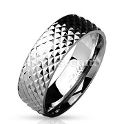 Diamond Cut Grooved Surface Classic Dome Ring