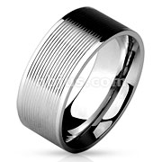 Multi Grooved Lines Center 316L Stainless Steel Band Rings