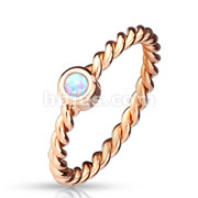 Opal Set Braided Rose Gold IP Stainless Steel Ring