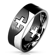 Cross Center Black And Steel 2-Tone Purzle Ring 316L Stainless Steel