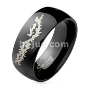 Flying Dragon Engraved Black Dome Stainless Steel Rings