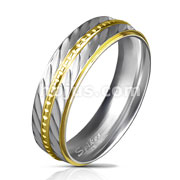 Gold IP Ball Chain Center and Stepped Edges Diagonal Deep Cut Stainless Steel Rings