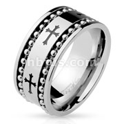 Black Celtic Cross Patter with Two Spinning Ball Chains Stainless Steel Rings