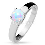 Round Opal Prong Set Classic Stainless Steel Engagement Rings