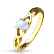 Oval Opal Set Casted Gold IP Stainless Steel Ring