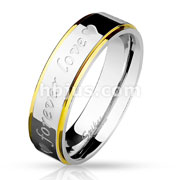 Forever Love and Hearts Engraved Two Tone Gold and Steel Stepped Edges Stainless Steel Band Rings