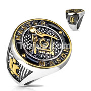 Gold and Black Masonic Sign Round Face Stainless Steel Casting Rings