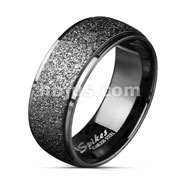 Sand Blast Center Stepped Edges Black IP Stainless Steel Rings