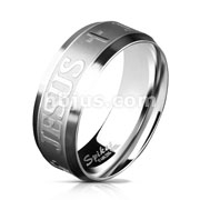 JESUS and Cross on Brushed Surface Center Stainless Steel Ring