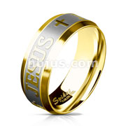 Brushed Steel Center and PVD Gold JEJUS and Crosses Engraved Around Stainless Steel Rings