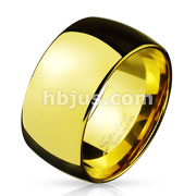 Wide Dome Stainless Steel Band Ring Gold IP