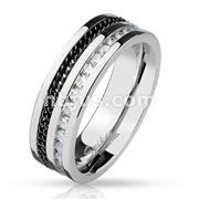Black Chain and Channel Set Eternity CZ Lined Stainless Steel Ring