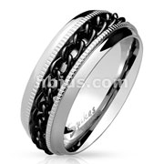 Black PVD Chain Center Spinner and Diacut Lined Stainless Steel Rings