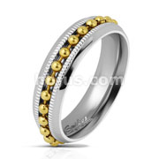 Gold Bead Chain Spinner Centered on Diacut Edge Channel Two ToneStainless Steel Rings