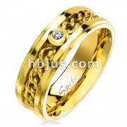 CZ Set Gold IP Chain Inlay Stepped Edges Stainless Steel Rings