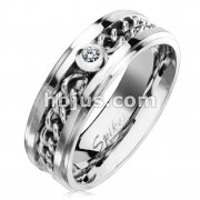 CZ Set Chain Inlay Stepped Edges Stainless Steel Rings