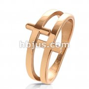 Double Cross Rose Gold PVD Plated Stainles Steel Ring