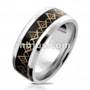 Gold Masonic Compass Repeating on Black Background Inlay Stainless Steel Ring