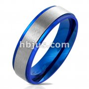 Blue IP Stepped Edge with Brushed Steel Center Stainless Steel Ring