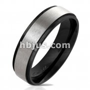 Black IP Stepped Edge with Brushed Steel Center Stainless Steel Ring