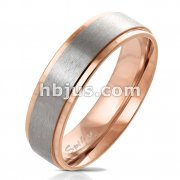 Rose Gold IP Stepped Edge with Brushed Steel Center Stainless Steel Ring