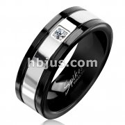Surface Prong Set CZ Black and Steel Two Tone Stainless Steel Ring