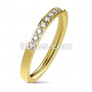 8 CZ CNC Machine Set Single Lined Stainless Steel Ring/Gold I