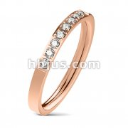 8 CZ CNC Machine Set Single Lined Stainless Steel Ring/RoseGold IP