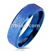 Blue IP Sandblasted Center with Polished Beveled Edge 316L Stainless Steel Ring