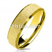 Gold IP Sandblasted Center with Polished Beveled Edge 316L Stainless Steel Ring