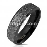 Black IP Sandblasted Center with Polished Beveled Edge 316L Stainless Steel Ring