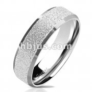 Sandblasted Center with Polished Beveled Edge 316L Stainless Steel Ring