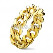 Curb Chain PVD Gold Plated Stainless Steel Ring