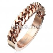 Half Circular Curb Chain Rose Gold IP Stainless Steel Ring