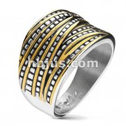 Gold and Silver Two Tone Overlapping Bands Stainless Steel Rings
