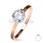 Round Solitaire CZ Set Engagement Stainless Steel Ring/Rose Gold IP
