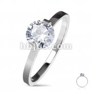 Round Solitaire CZ Set Engagement Stainless Steel Ring