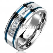 10 Lined CNC Machine Set CZ with 2 Blue IP Grooved Stripes Stainless Steel Ring