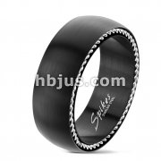 Matte Black Finish with Steel Cables on Both Sides Stainless Steel Rings
