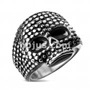 Black and Steel Two Tone Skull Stainless Steel Casting Rings