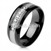 7 CZ Lined CNC Machine Set Black PVD Plated Grooved Steel Centered Stainless Steel Ring