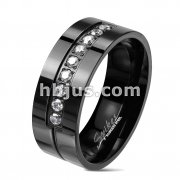 9 CZ Lined Set Center Glossy Black Stainless Steel Band Rings